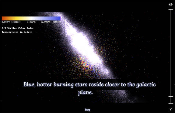Screenshot from 100,000 Stars app showing the galaxy in perspective