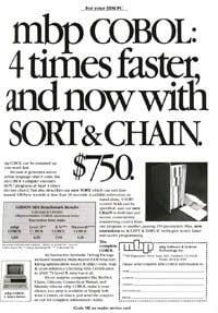 January 1985 PCWorld – mbp COBOL ad