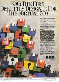 January 1988 Byte magazine  KAO diskettes ad