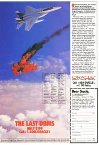 January 1988 Byte magazine  Oracle ad