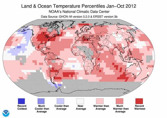 NOAA land and ocean temperature percentiles, January through October 2012