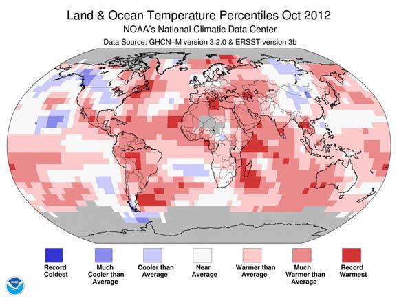 NOAA land & ocean temperature percentiles, October 2012