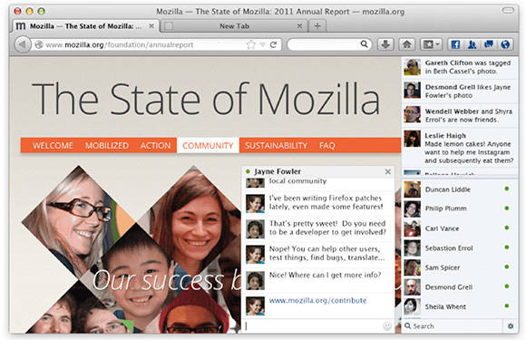 Screenshot of Mozilla's Facebook Messenger for Firefox