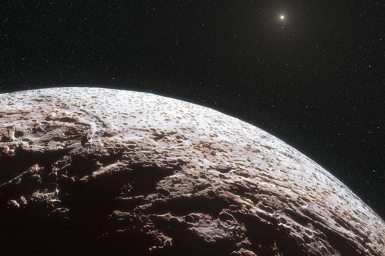 The surface of Makemake. Credit ESO/L. Calçada/Nick Risinger (skysurvey.org)