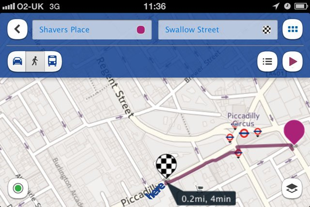 Nokia HERE iOS maps app