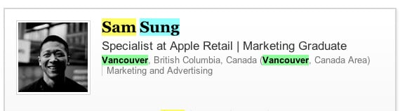 A screengrab of the now deleted Linked In profile of Apple employee Sam Sung