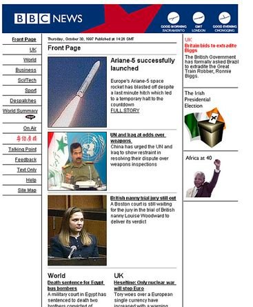 BBC News Online pre-launch home page