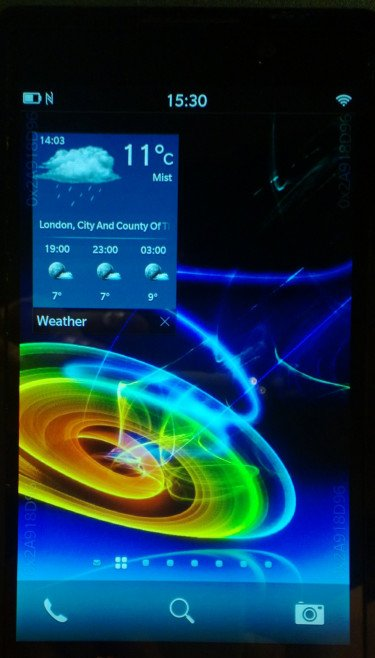 A screenshot of the BB10 running a weather application