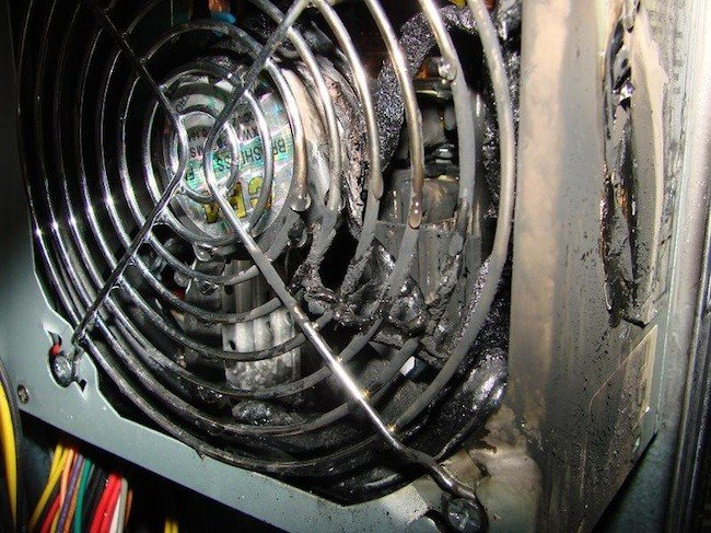 Burnt PC, reader photo from Keith, republished with permission
