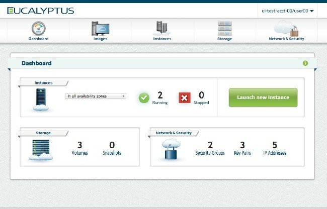The new Eucalyptus dashboard