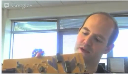 Eben Upton pulls out a Raspberry Pi from 2006 in talk for CW jobs, screengrab youtube