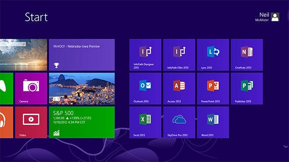 Screenshot of the Windows 8 Start Screen showing Office 2013 icons