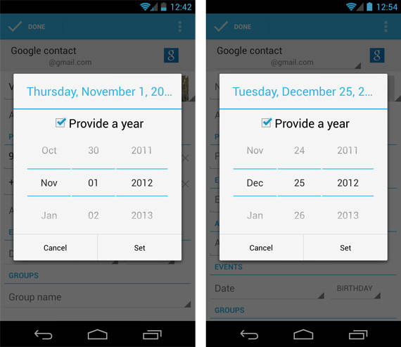 Comparison showing the old and new Android 4.2 People app date pickers