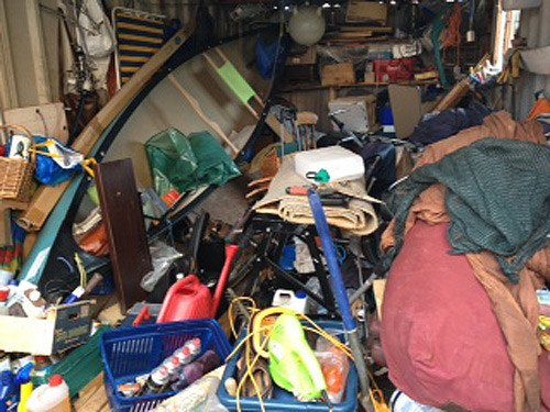 Nicola Price's garage - filled with junk
