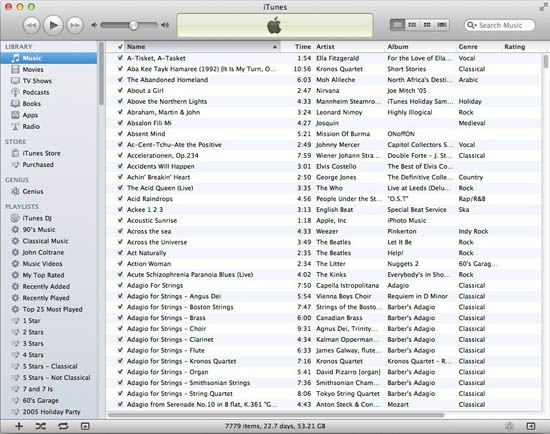 iTunes 10: music listing