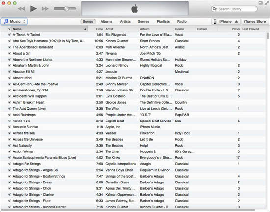 iTunes 11: music listing