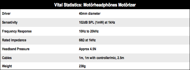 Motoroheadphones Motorizer tech specs