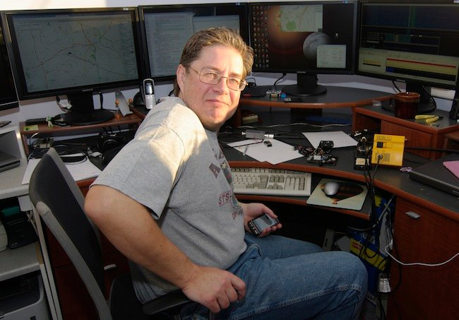 Dave Akerman in mission control