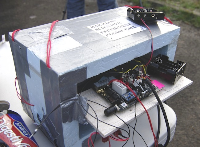 The SPEARS board in the styrofoam box
