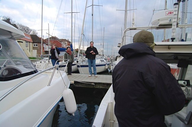 Dave Akerman on the dock, as seen from the Even-Flow