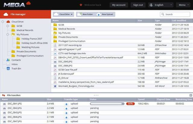 The file manager in Kim Dotcom's new cloud storage service