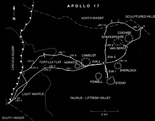 Map of journeys undertaken on the Apollo 17 mission