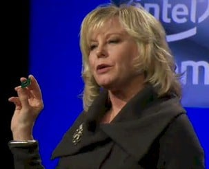 Diane Bryant, GM of Intel's Data Center and Connected Systems Group, holds an Atom S1200