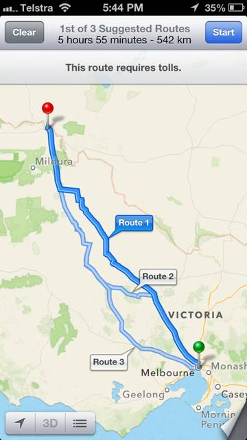 Maps in iOS6 now directs travellers to the correct Mildura