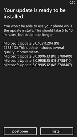 Screenshot showing contents of first Windows Phone 8 update