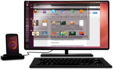 Photo of a hypothetical Ubuntu phone, docked for use as a desktop