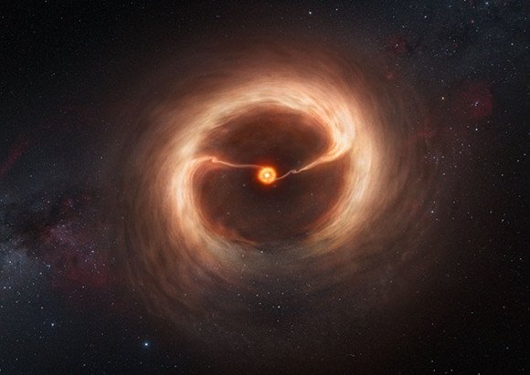 Artist&amp;amp;rsquo;s impression of the disc and gas streams around HD 142527