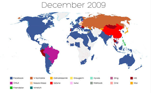 World Map of Social Networks – December 2009