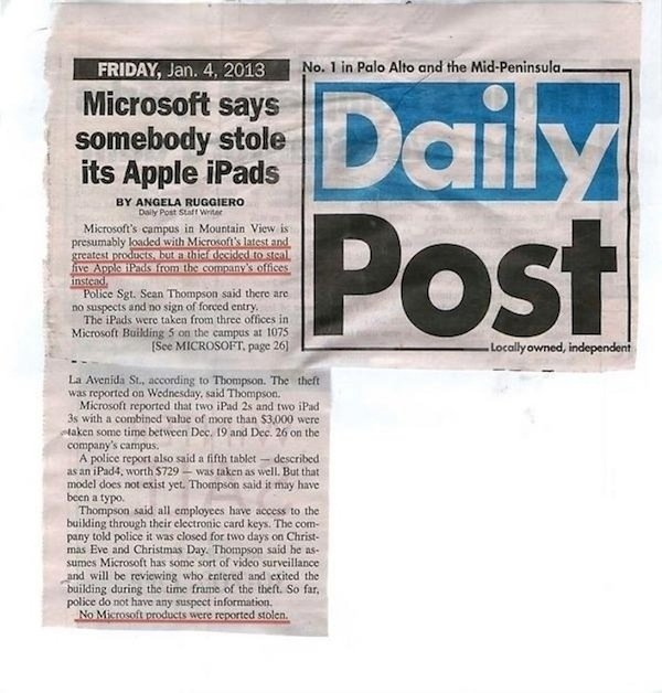 Daily Post story, iPad Theft, credit Daily Post