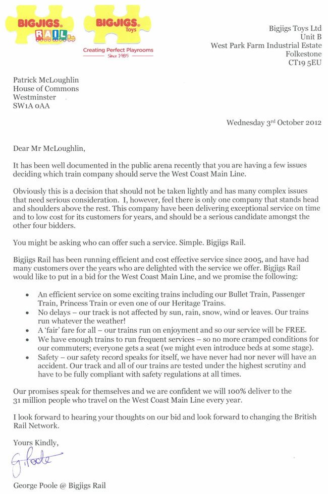 The Bigjigs letter to the Department for Transport