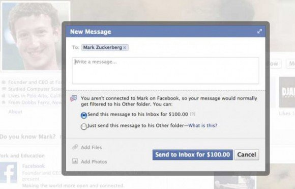 Screenshot showing dialog box requesting a $100 fee to message Mark Zuckerberg