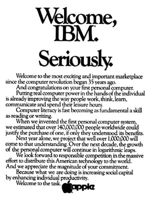 Apple Wall Street Journal advertisement Welcome IBM, Seriously