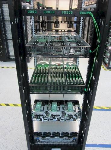 The silicon photonics interconnect contributed by Intel to Open Compute in action in a rack