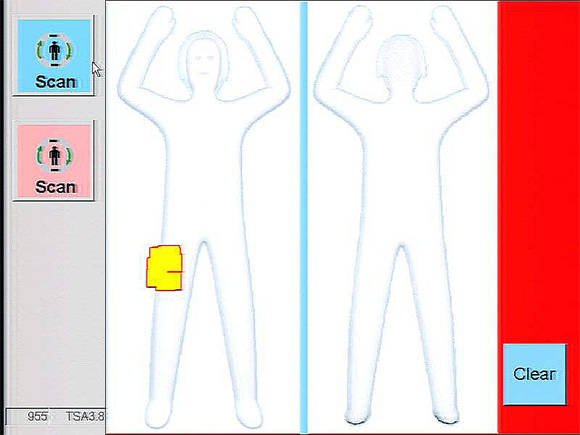 Screenshot of body-scanner Automated Target Recognition in action
