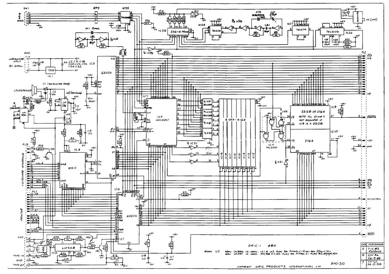 Oric 48K circuit schematic