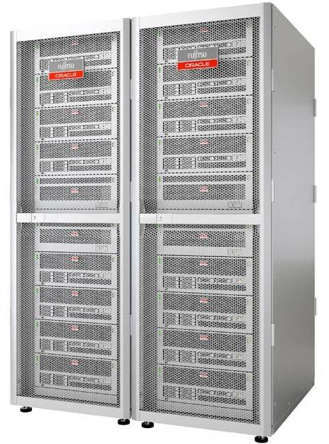 A rack of Sparc64-X machines called the Sparc M10-4S