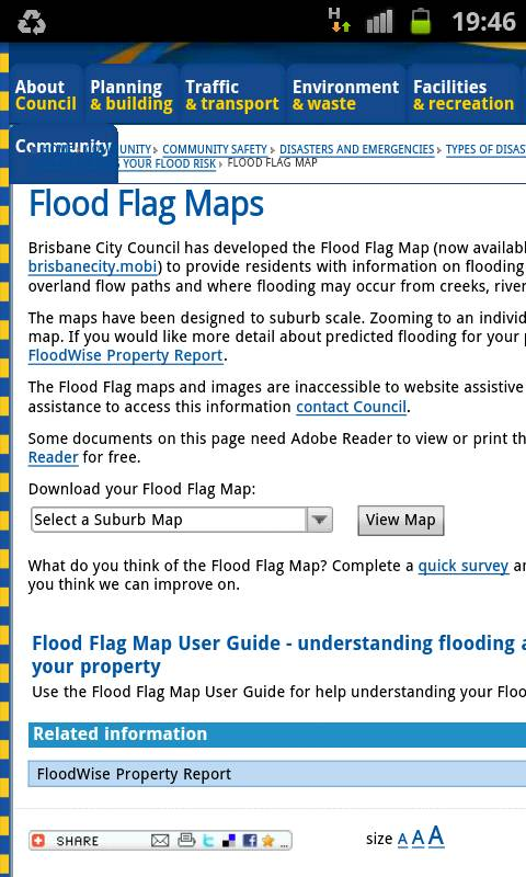 Brisbane flood maps mobile version