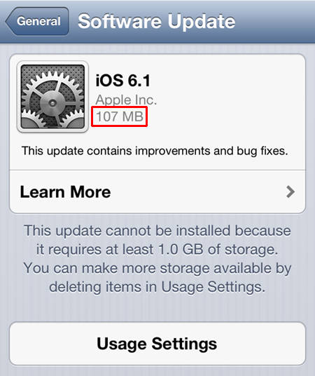 iOS update as downloaded over the iPhone