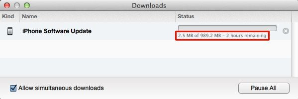 iOS update as downloaded through iTunes