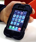 BT Openreach iPhone with Griffin Saviour case