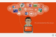 Screenshot of Microsoft promotional video touting Office 2013's cloud integration