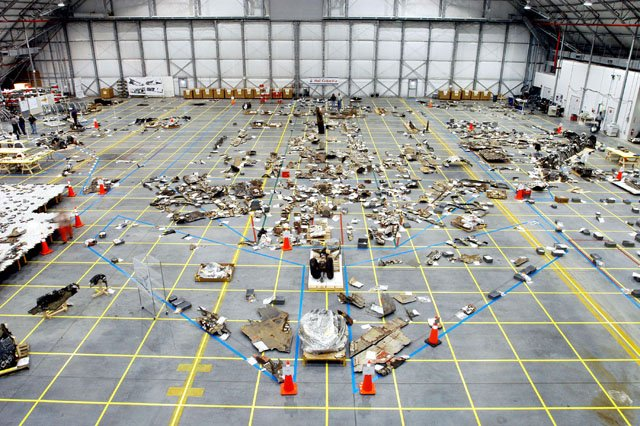 Columbia hangar debris