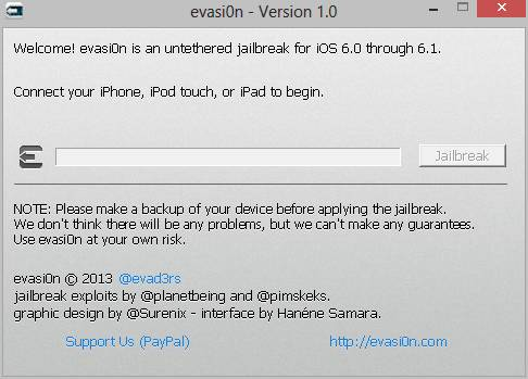Screenshot of Evasi0n iOS 6 jailbreak tool