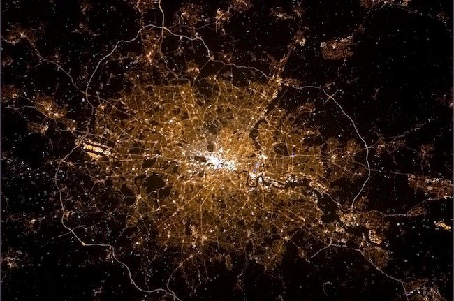 London from the International Space Station, credit Commander Hadfield