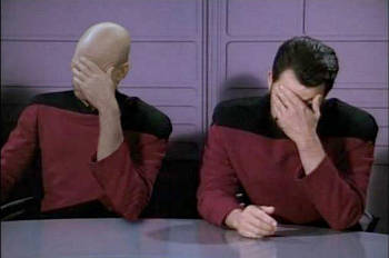 Picard and Riker perform Double Facepalm (when one facepalm is not enough)