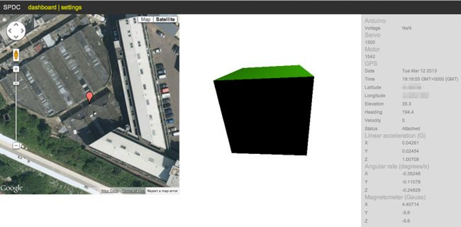 Screengrab showing the car's interface, with position on Google Earth